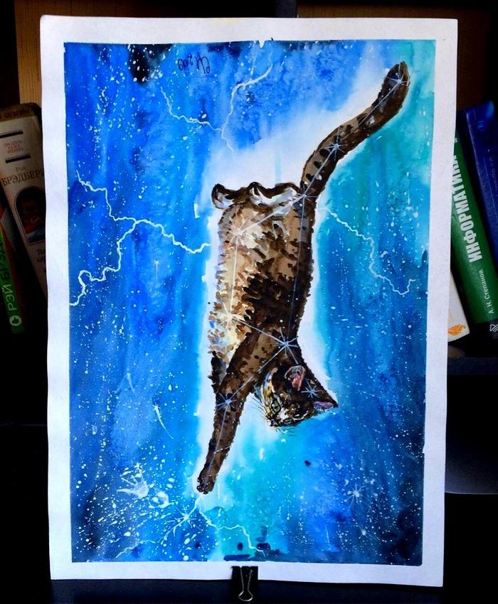 Созвездие кошки Арт, Творчество, Акварель, Кот, Животные, Космос, Длиннопост, Созвездия, Рисунок