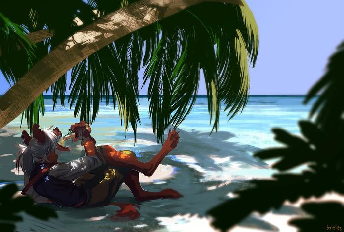 Paradise Фурри, Furry Art, Антро, Пляж, Пираты, Алкоголь, Рай, Treats