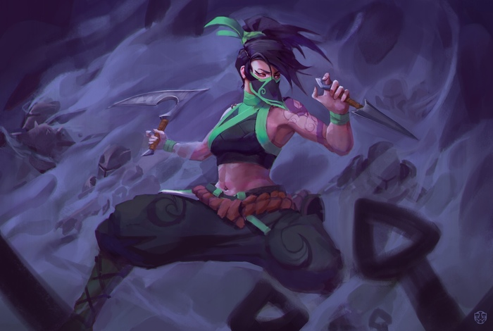 Akali Art Арт, Connor Wright, League of Legends, Akali, Девушки