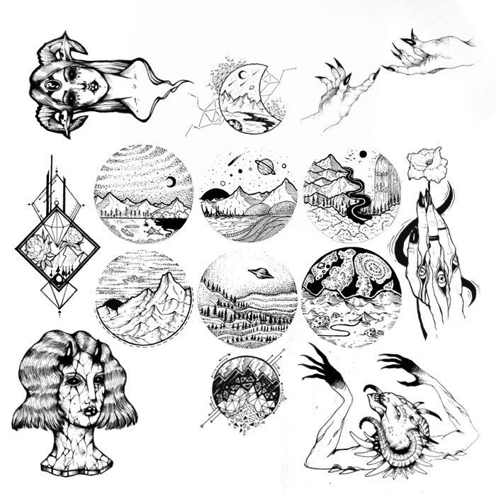 Немного моих эскизов Эскиз, Эскиз татуировки, Тату, Графика, Длиннопост