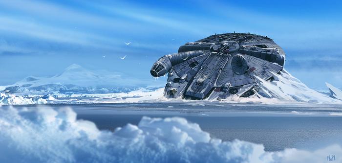 Frozen Millennium Falcon Star Wars, Star Wars Art, Арт, Тысячелетний сокол, Nagy Norbert, Скокол тысячилетия, Сокол Тысячилетия