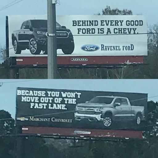 Конкуренты Форд, Chevrolet, Машина, Рекламный щит, Реклама, Конкуренция, Боги маркетинга, Подкол