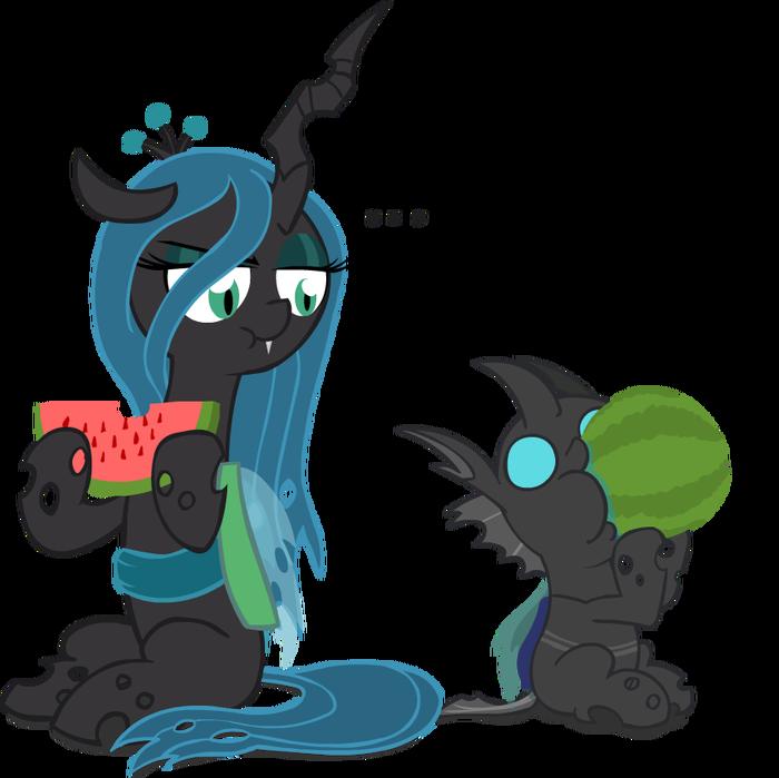 Chrysalis eating a watermelon My Little Pony, Queen Chrysalis, Changeling, Арбуз, Я люблю арбузы, Mrponiator