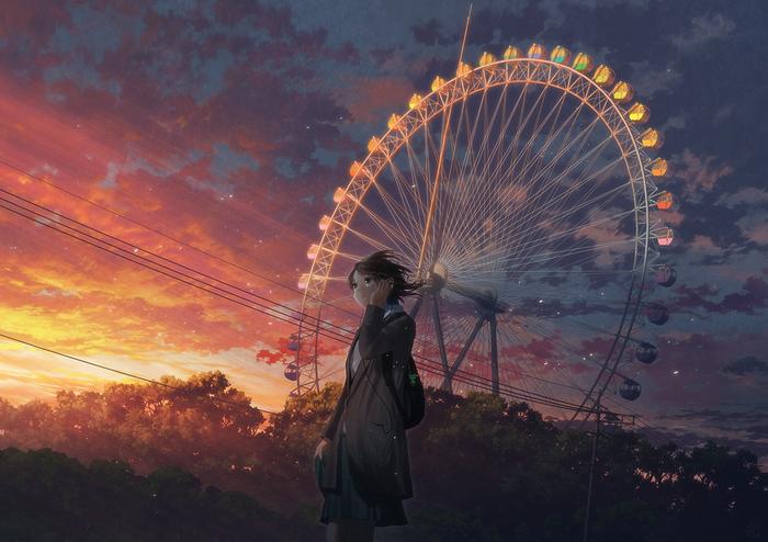 Колесо Anime Art, Anime Original, Аниме, Original Character, Закат, Колесо обозрения, Лес, Природа