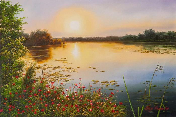 Закат над озером Озеро, Лето, Природа, Закат, Живопись, Картина, Искусство, Современное искусство