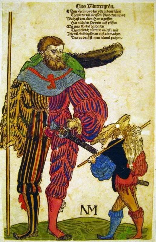 Ландскнехт и его сын Лига историков, Гравюра, Ландскнехт, 16 век, Мой пездюк