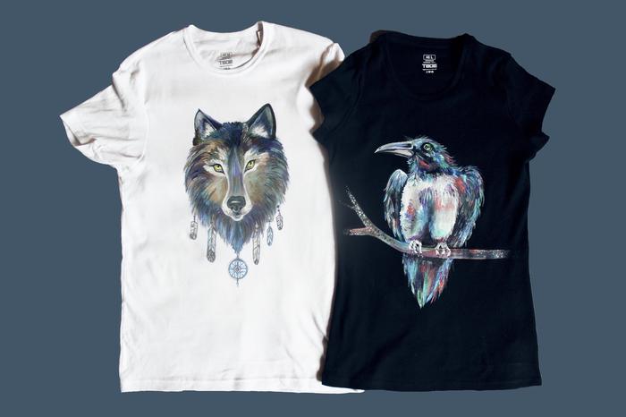 Волк и ворон. Роспись футболок Роспись по ткани, Волк, Ворон, Ручная работа, Акрил, Творчество, Длиннопост, Роспись, Футболка