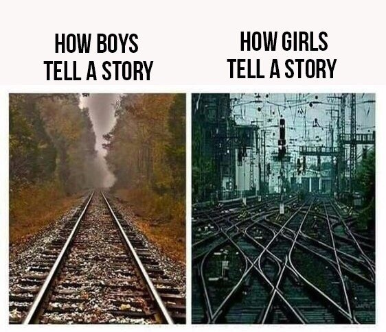 Как девушки и парни рассказывают историю.