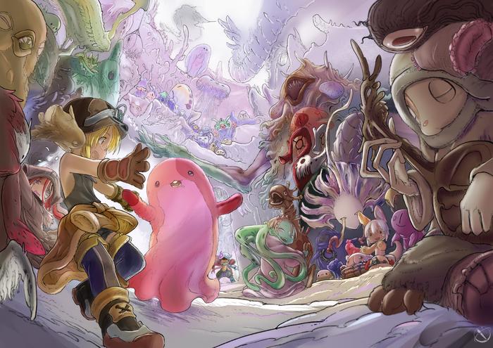 Бездна Anime Art, Аниме, Made in Abyss, Nanachi, Mitty, Reg, Riko