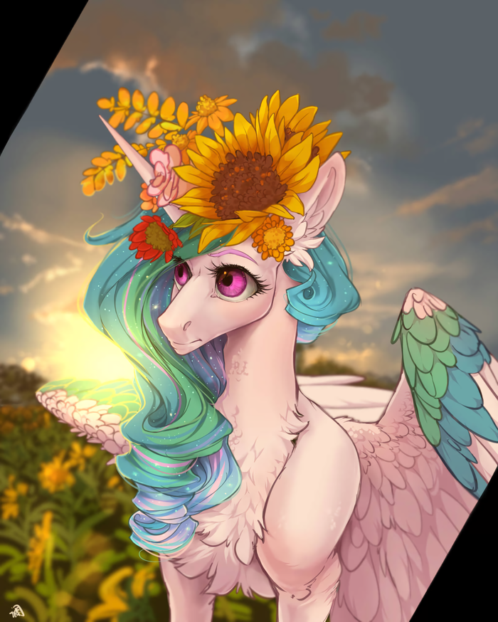 Failing Sun My Little Pony, Princess Celestia, Цветы, Венок, Rossignolet