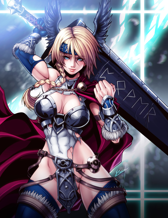 Power Valkyrie Karosumaker, Арт, Крепкая девушка, Воительница, Валькирия, Power Girl, DC, Длиннопост