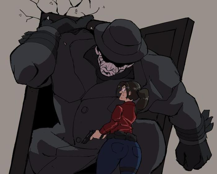 Мистер Икс. Рост: Выше чем ты. Resident Evil 2: Remake, Игры, Арт, Мистер икс, Claire Redfield, Leon Kennedy