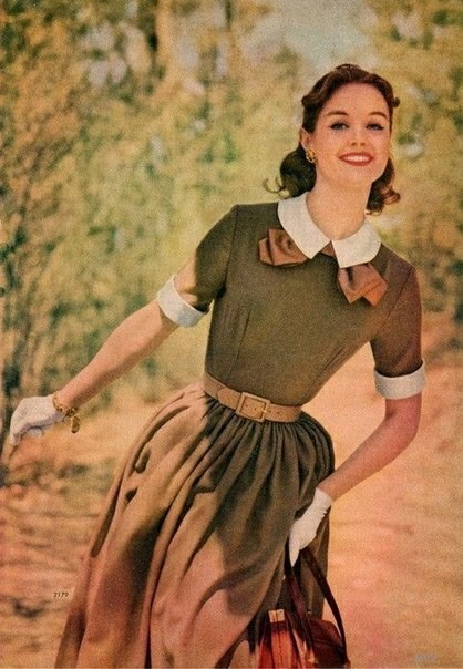 Платья 50-х 50-е, Винтаж, Мода, Длиннопост, Платье