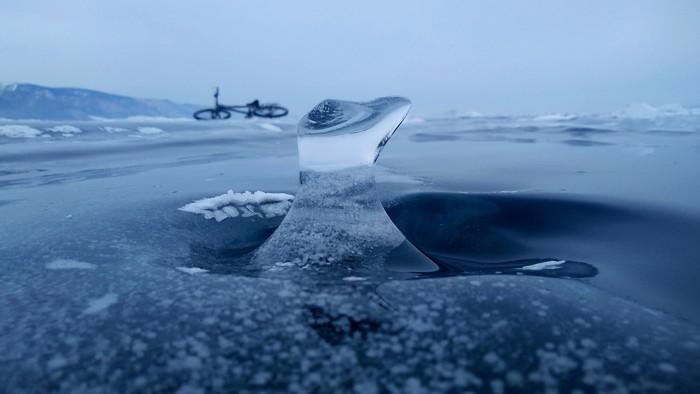 Лёд. Байкал. Велосипед. Велосипед, Байкал, Фотография, Лед
