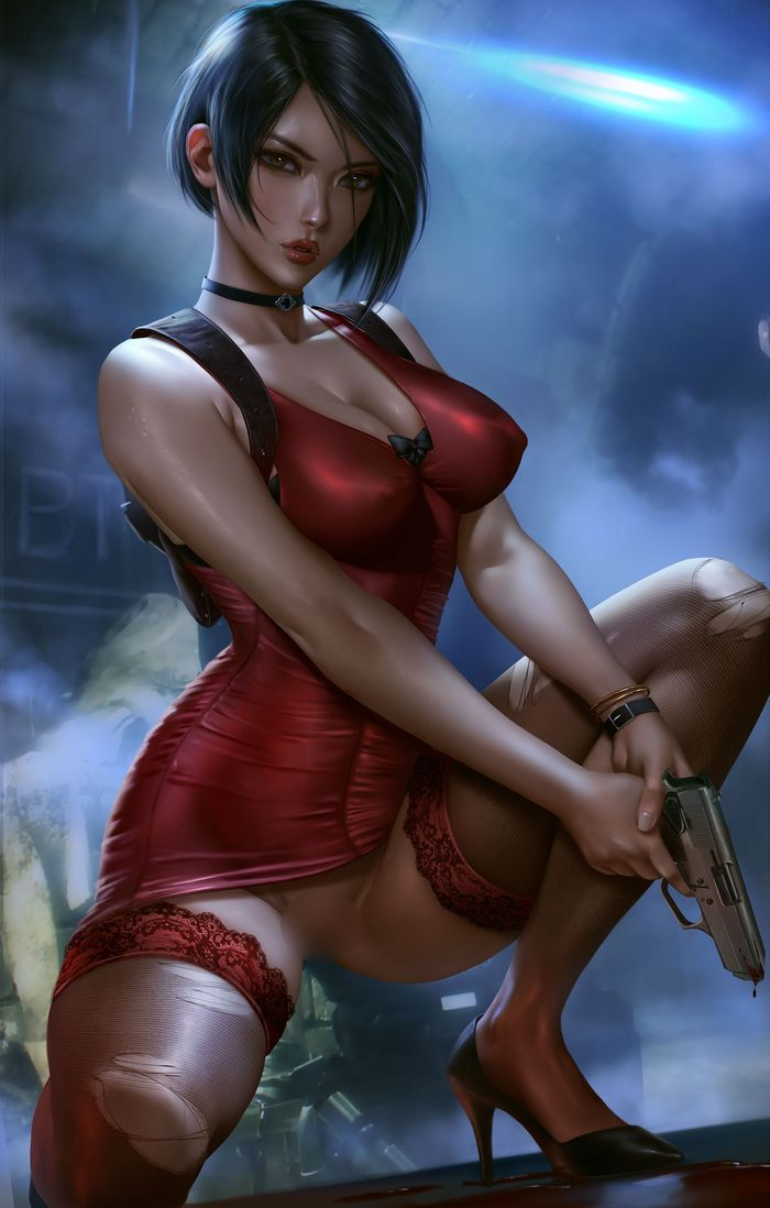 Ada Wong nude Арт, Рисунок, Resident Evil, Capcom, Ada Wong, Чулки, Logan Cure, Длиннопост