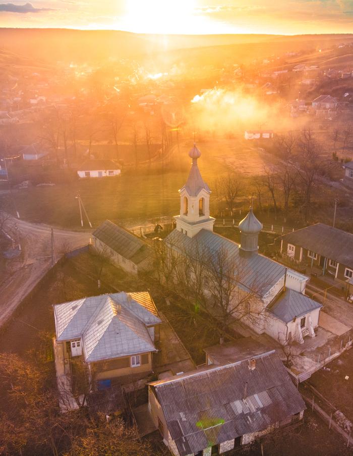 Молдавская деревня Молдова, Фотография, Закат, Длиннопост, Дрон