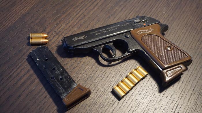 Резинкострел Walther PPK распечатанный на 3д принтере Walther, 3D печать, 3D моделирование, Модели, Оружие, Хобби, Видео, Длиннопост