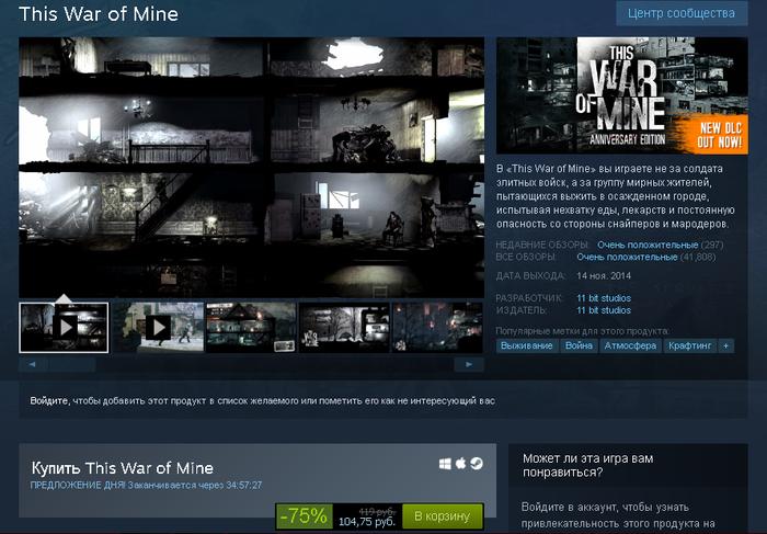 Отличная скидка на This War of Mine Steam, Скидки в Steam, Скидки, Инди, Игры, This War of Mine