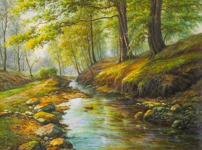 """""""Бежал по камешкам ручей"""" Природа, Ручей, Искусство, Живопись, Современное искусство, Картина, Картина маслом, Лес"""