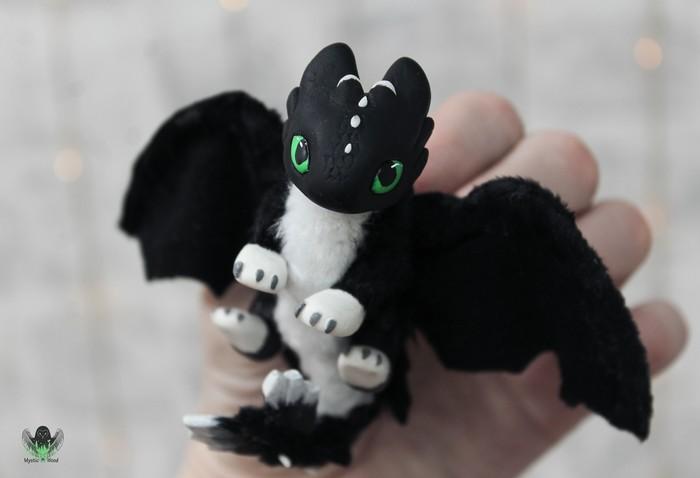 Baby fury - Night Shine(спойлеры к КПД 3) Как приручить дракона, Дракон, Ручная работа, Рукоделие без процесса, Полимерная глина, Длиннопост