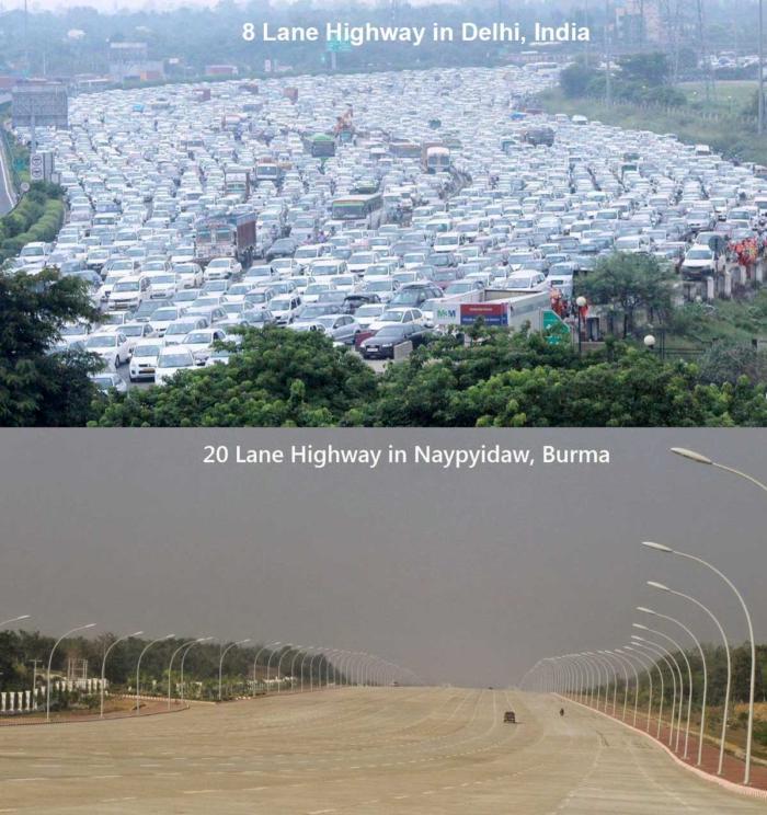 Азия - место контрастов Трафик, Контраст, Индия, Дорога, Авто