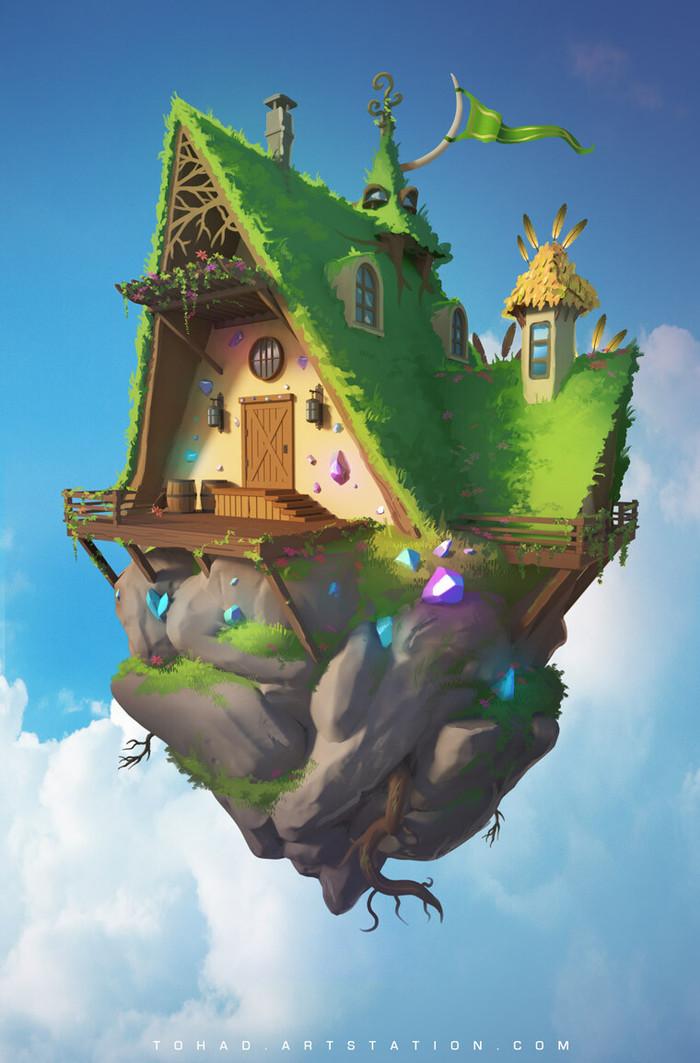 Vegetal house Арт, Sylvain Sarrailh, Рисунок, Дом, Длиннопост