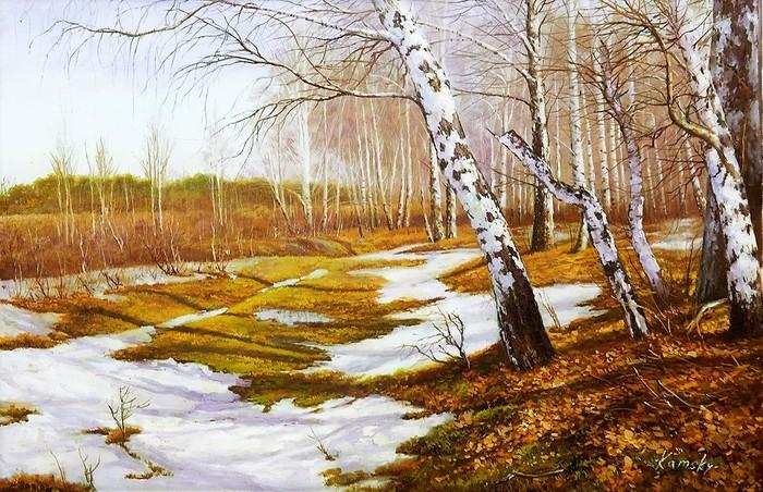 Вот уж снег последний в поле тает... Весна, Природа, Искусство, Лес, Живопись, Картина