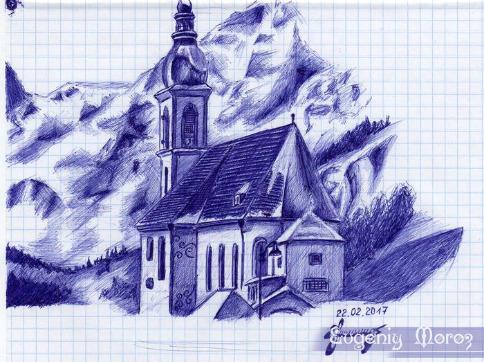 Храм Рисунок, Шариковая ручка, Зарисовка, Храм, Ручка, Графика, Творчество, Рисунок ручкой