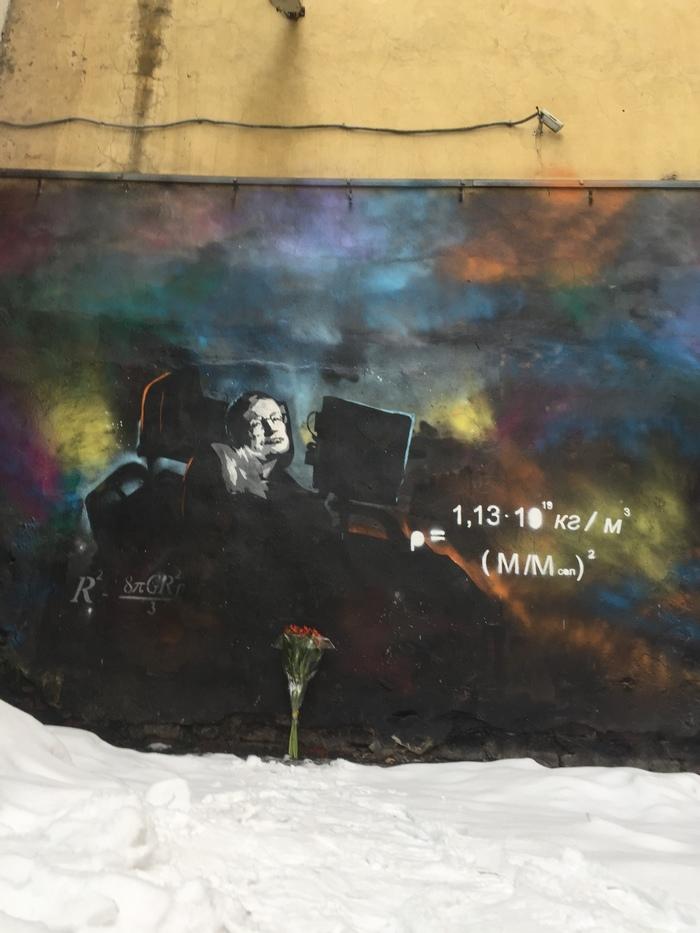 Год без Стивена Хокинга Наука, Физика, Цветы, Стена, Санкт-Петербург, Рисунок, Стивен Хокинг