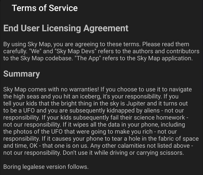 Пожалуй, не буду устанавливать это приложение Юмор, Лицензионное соглашение, Перевод, Разработчики, Инопланетяне