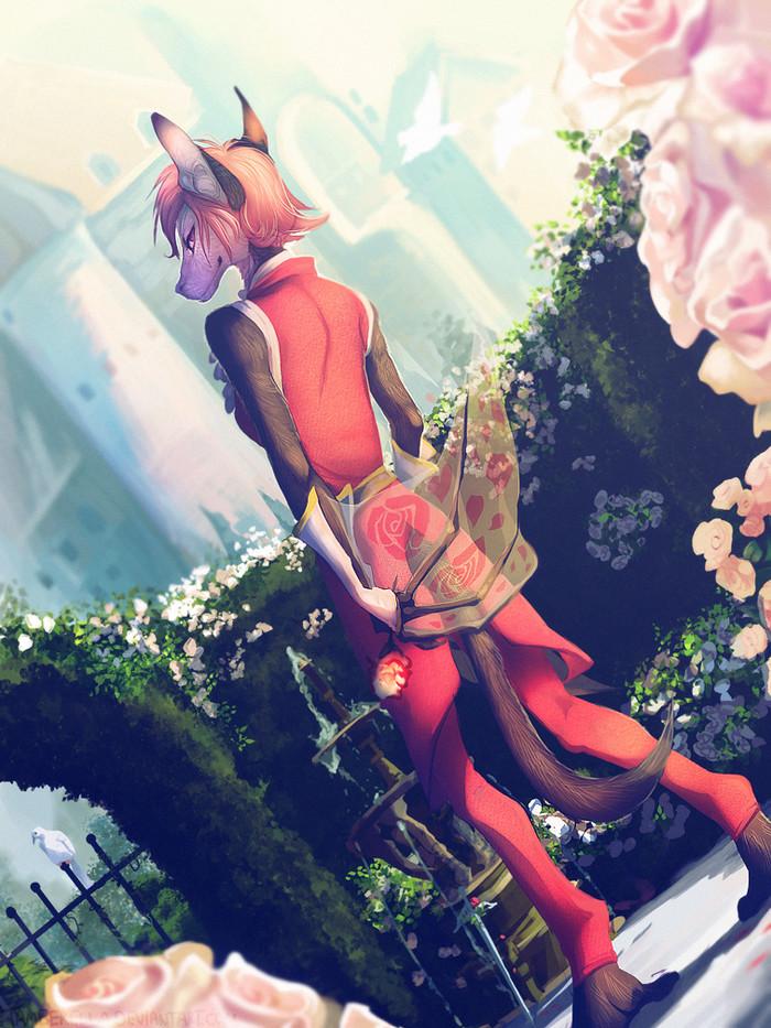 Rose Garden Фурри, Furry Art, Антро, Furry bat, Роза, Tamberella, Snowaro