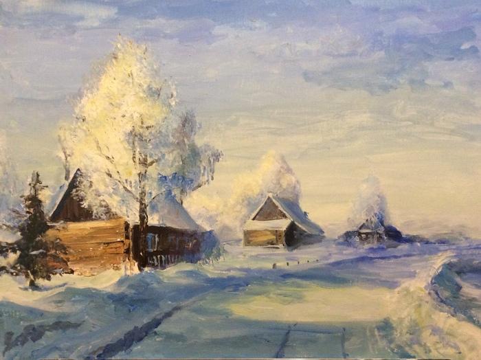 Моя живопись Искусство, Живопись, Картина, Пейзаж, Художник, Длиннопост, Гуашь, Акрил, Зима