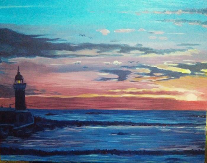 Рисунок масляными красками Живопись, Картина маслом, Пейзаж, Закат, Море, Маяк, Картина, Масло