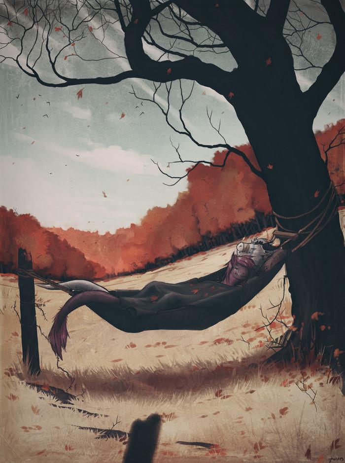 Resting Leaves Фурри, Furry Art, Антро, Furry Dragon, Гамак, Осень, Ghostes