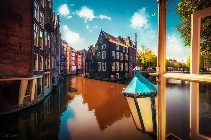 Вид из окошка в Амстердаме Амстердам, Вид из окна, Фотография