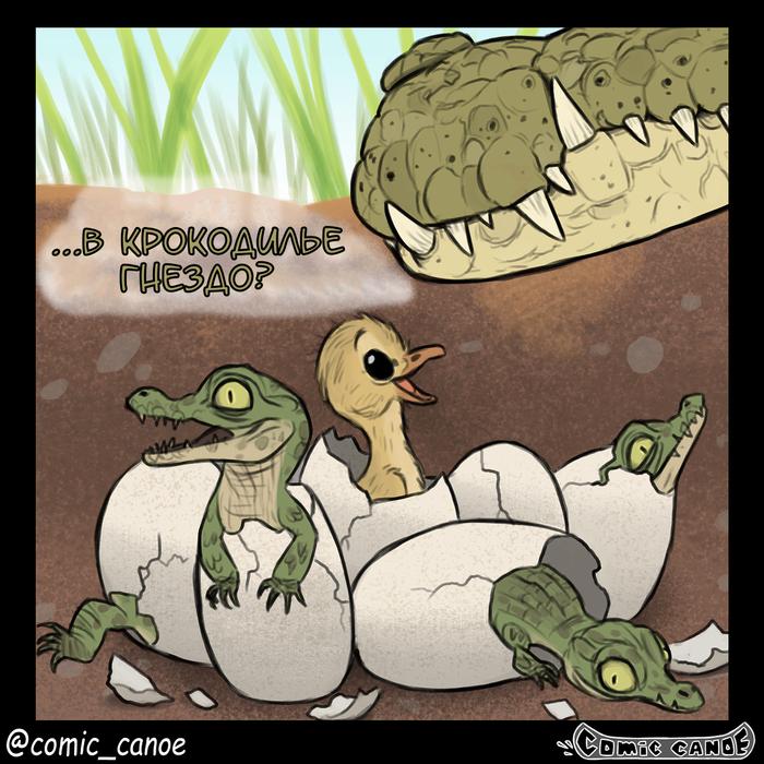 Гадкий крокодил Крокодил, Гусь, Яйца, Гнездо, Комиксы, Перевел сам, Длиннопост, Pet Foolery