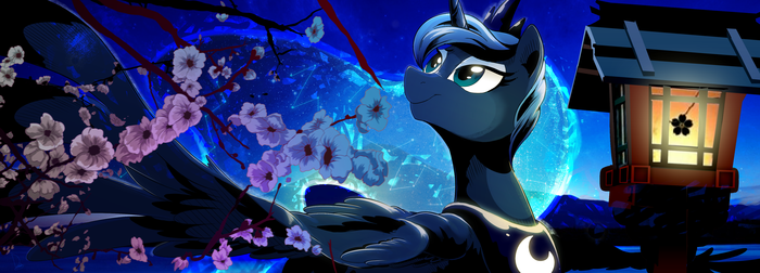 Luna under Sakuras My Little Pony, Princess Luna, Сакура, Ночь, Короткопост, Dormin-Kanna
