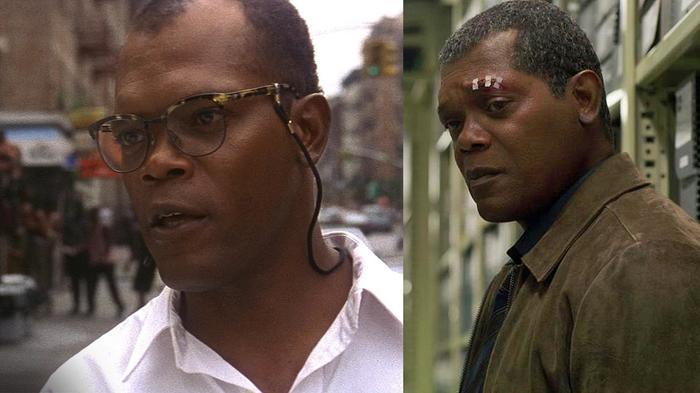 """Сэмюэл Л. Джексон в 1995 (Крепкий орешек 3) и он же после """"компьютерного омоложения"""" для Капитан Марвел (события фильма происходят в 1995)"""