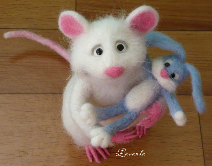 Мышь белая Мышь, Сухое валяние, Валяние, Авторская игрушка, Белая, Длиннопост