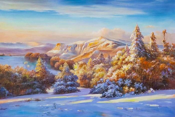 Зимний пейзаж. На рассвете Природа, Зима, Пейзаж, Картина, Искусство, Живопись, Горы, Лес
