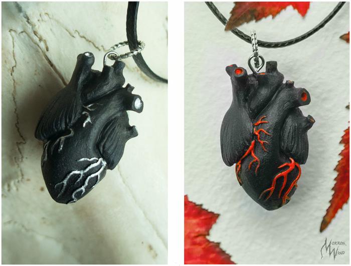 Little black heart . Кулоны из полимерной глины Сердце, Кулон, Полимерная глина, Рукоделие без процесса, Своими руками, Длиннопост