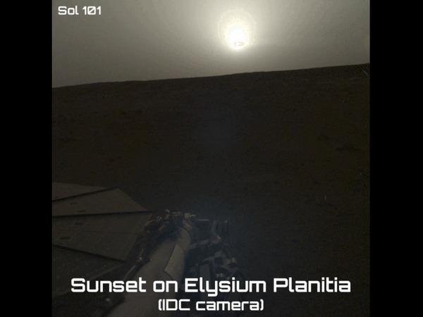 Заход Солнца на Марсе Космос, Марс, Закат, Солнце, Insight, Гифка