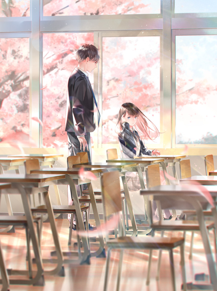 Эх, весна... Аниме, Anime Art, Anime Original, Весна, Сакура, Школа