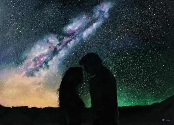 Космос, холст, масло Космос, Масло, Картина, Длиннопост, Картина маслом, Звёзды, Небо, Северное сияние, Горы