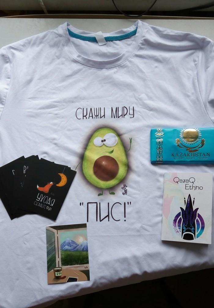 Проект: T-shirts crossing Алматы- Новомосковск. Обмен подарками, Футболка, Отчет по обмену подарками, Длиннопост, t-Shirts crossing