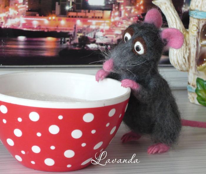 Крыс и его котенок Мышь, Крыса, Серая, Сухое валяние, Игрушка из шерсти, Длиннопост, Рукоделие без процесса
