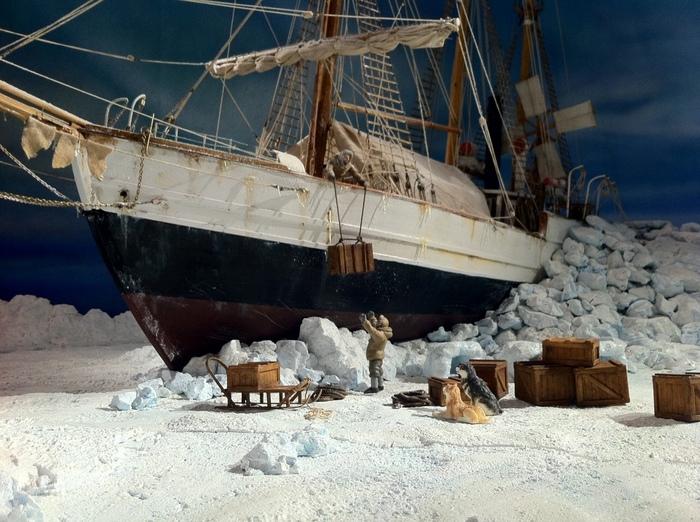 Норвежский корабль Фрам в полярной экспедиции Корабль, Экспедиция, Длиннопост, Диорама