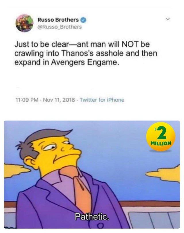И смысл теперь смотреть [Фейк] Танос, Marvel, Симпсоны, Twitter, Reddit, Скриншот, Человек-Муравей, Мстители: Финал