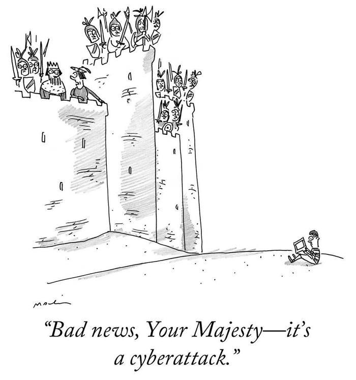 Кибератака Кибератака, Хакеры, Атака, Крепость, Карикатура, The New Yorker