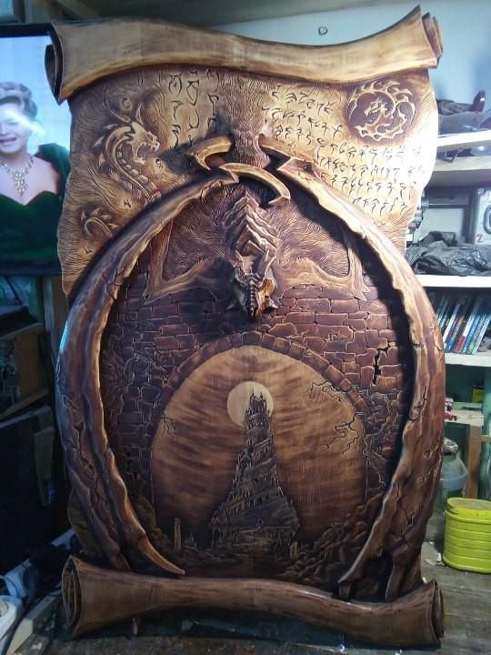 Работы моего друга,талантлевийший резчик по дереву из Новосибирска ,просто оставлю здесь на ваш суд Skyrim, World of Warcraft, Резьба по дереву, Картины из кедра, Длиннопост